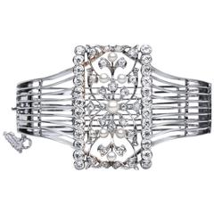 3.94 Carat Old Mine and Old European Diamond Platinum and Gold Cuff Bracelet