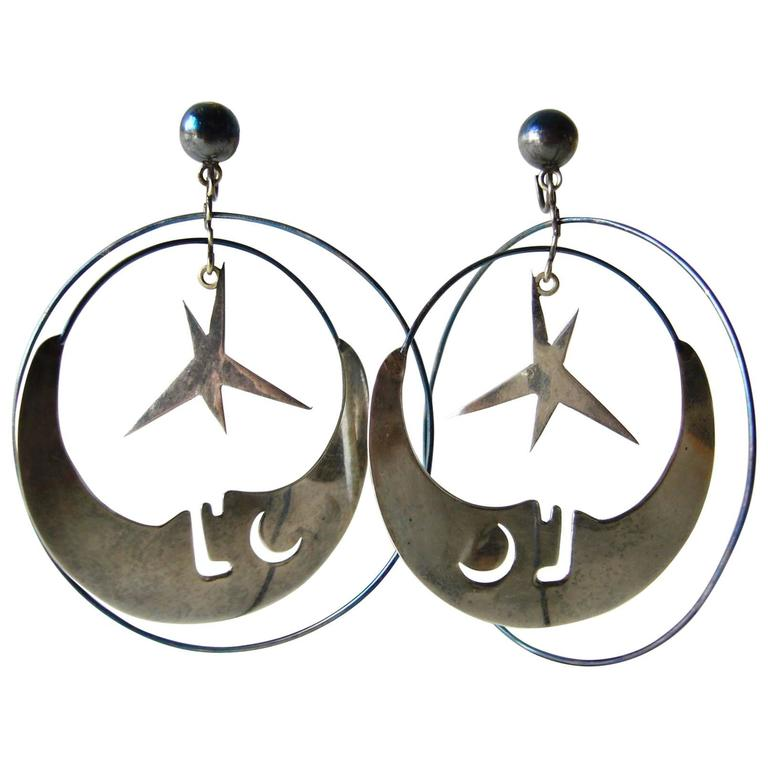Los Castillo Mexican Sterling Silver Moon And Stars Mobile Earrings For