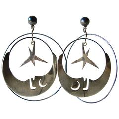 Los Castillo Mexican Sterling Silver Moon And Stars Mobile Earrings