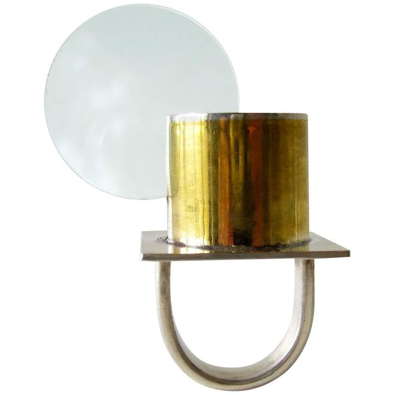 Heidi Abrahamson Sterling Silver Brass Acrylic Disc Ring For Sale