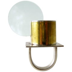Heidi Abrahamson Sterling Silver Brass Acrylic Disc Ring