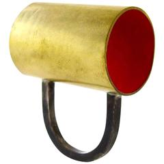 Heidi Abrahamson Enameled Brass Sterling Silver Tube Ring
