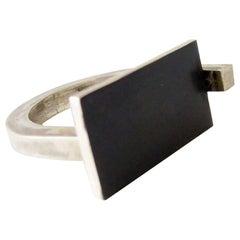 Heidi Abrahamson Sterling Silver Modernist Gentleman's Ring
