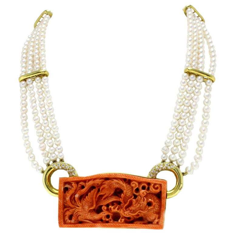 Natural  Coral Pearls Diamond Yellow Gold Necklace