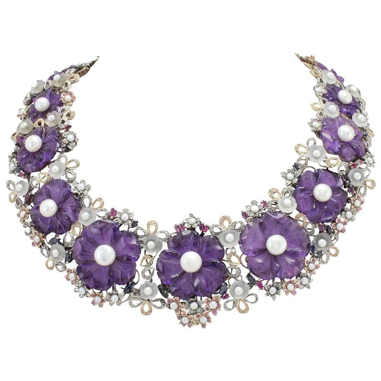 Amethyst Diamond Pearl Choker Gold  Necklace