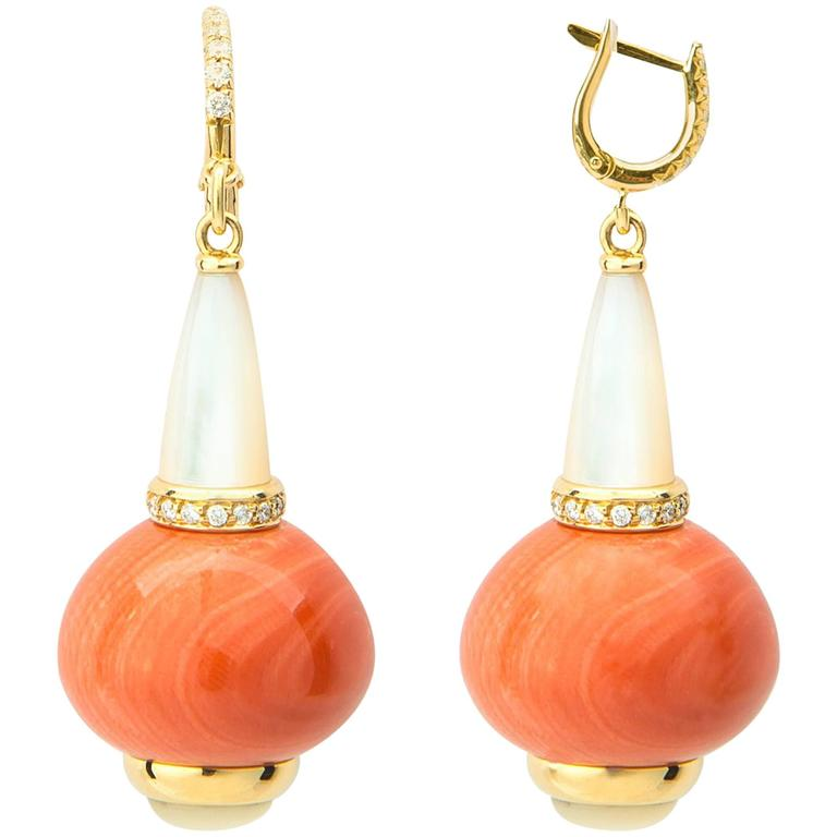 Coral Mother-of-Pearl Diamond Gold Drop Earrings