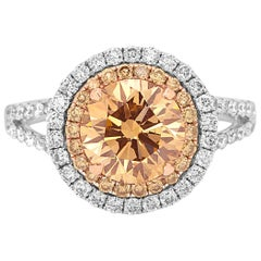 Certified 2.42CT Yellowish Brown Diamond Halo Two Color Gold Bridal Fashion Ring