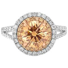 Certified Fancy Yellowish Brown Diamond Double Halo Two Color Gold Ring