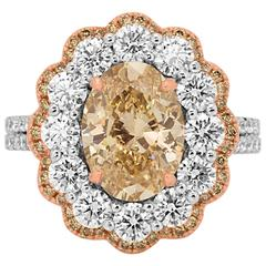 Certified Champagne Oval Diamond in Double Halo Two Color Gold Ring