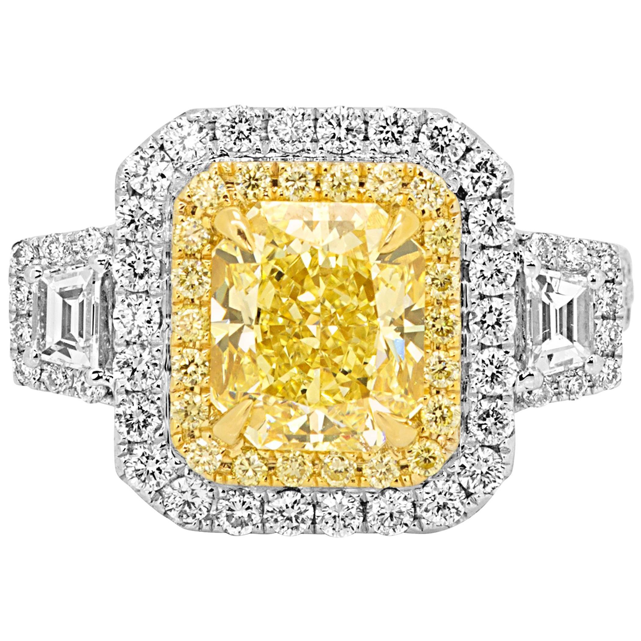 GIA Certified Yellow Diamond Two Color Gold Halo Three Stone Bridal Fashion Ring