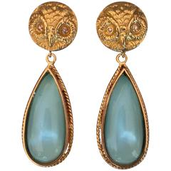 Diamond Eyed Gold Owl Earrings with Turquoise Quartz Drops