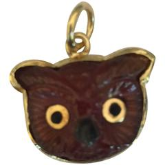Brown Tourmaline Gold Owl Pendant