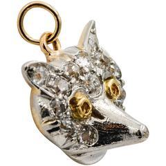 Diamond Gold Platinum Fox Charm