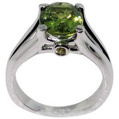 3.01 Carat Peridot Sapphire Sterling Silver Rhodium Ring
