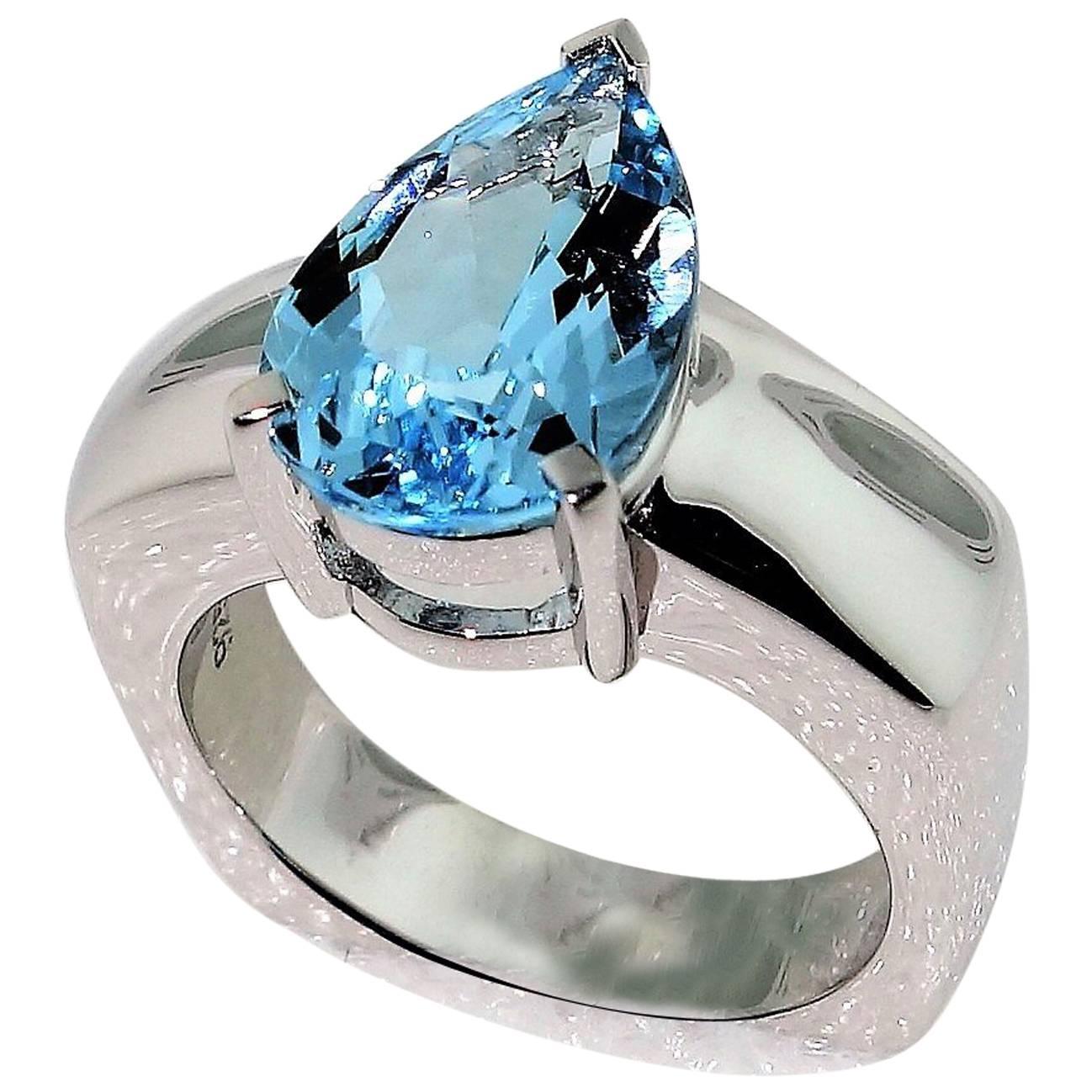 2.90 Carat Blue Topaz Diamond Solitaire Ring Estate Fine Jewelry