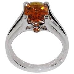 2.24 Carat Citrine Sapphire Sterling Silver Ring