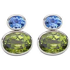 Colleen B. Rosenblat Peridot Aquamarine White Gold Earrings