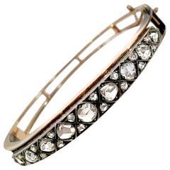 Edwardian Diamond Silver Gold Bangle Bracelet