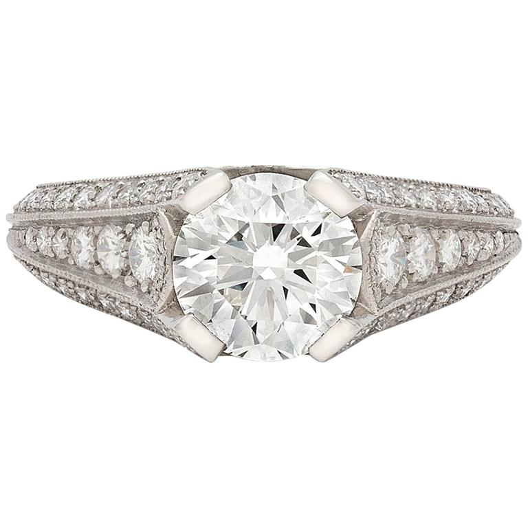 Custom French GIA 1.55 Carat Diamond Platinum Ring