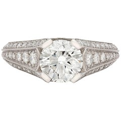 Custom French GIA 1.55 Carat Diamond Platinum Ring