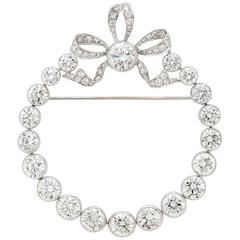 Exceptional 16.19 Carat Diamond Platinum Circle Brooch