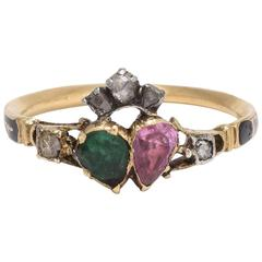 Georgian Unis Par L'Amour Ruby and Emerald Twin Heart Ring
