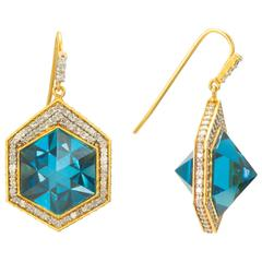 Lauren Harper 1.41 Carats Diamonds London Blue Topaz Pyramid Gold Earrings