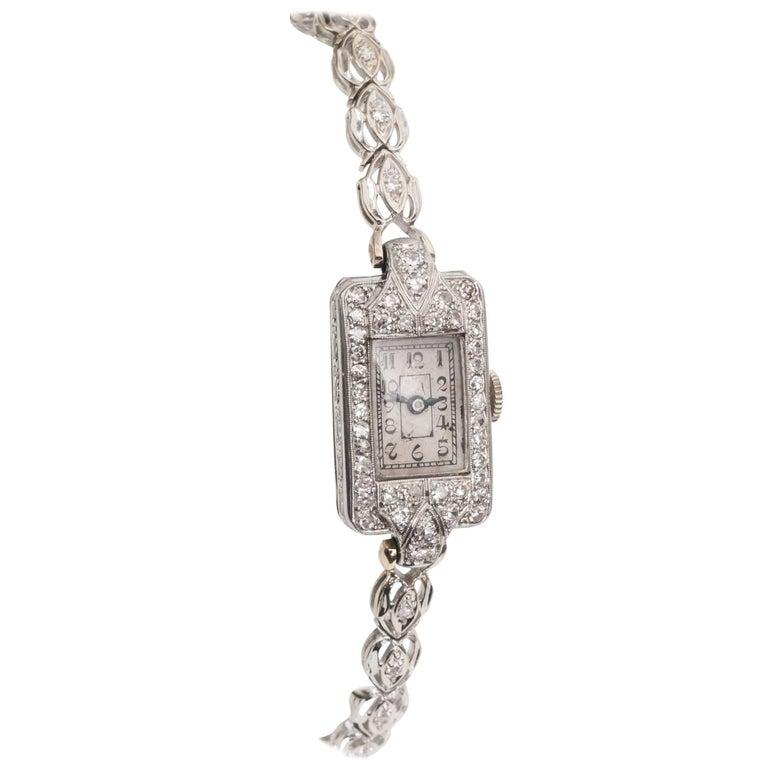 1884 Victorian Ladies White Gold Diamond Wristwatch For Sale