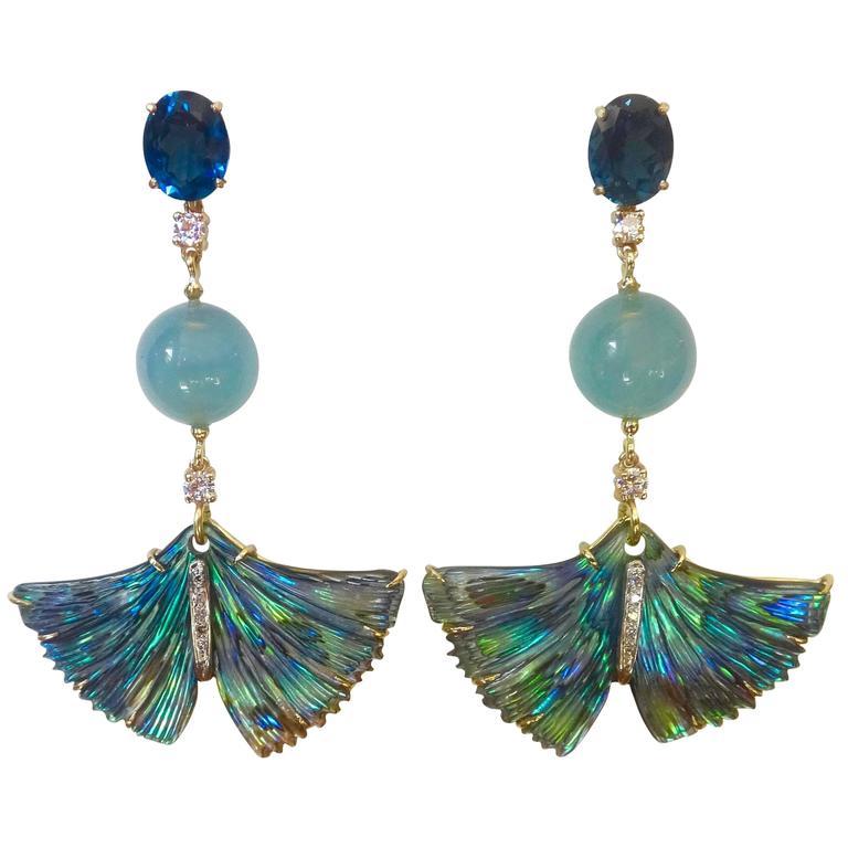 Michael Kneebone Topaz Aquamarine Diamond Abalone Ginkgo Leaf Dangle Earrings