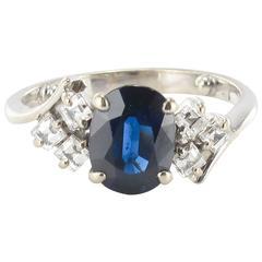 Modern Sapphire and Princess Cut Diamond Ring