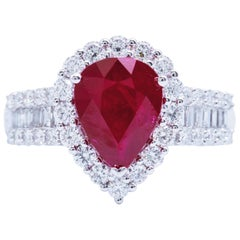Pear Shape Ruby Diamond Halo White Gold Engagement Cocktail Ring