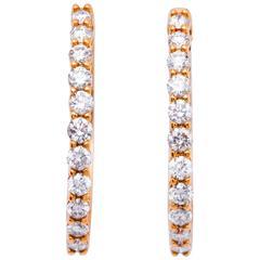Diamond Yellow Gold Hoop Earrings