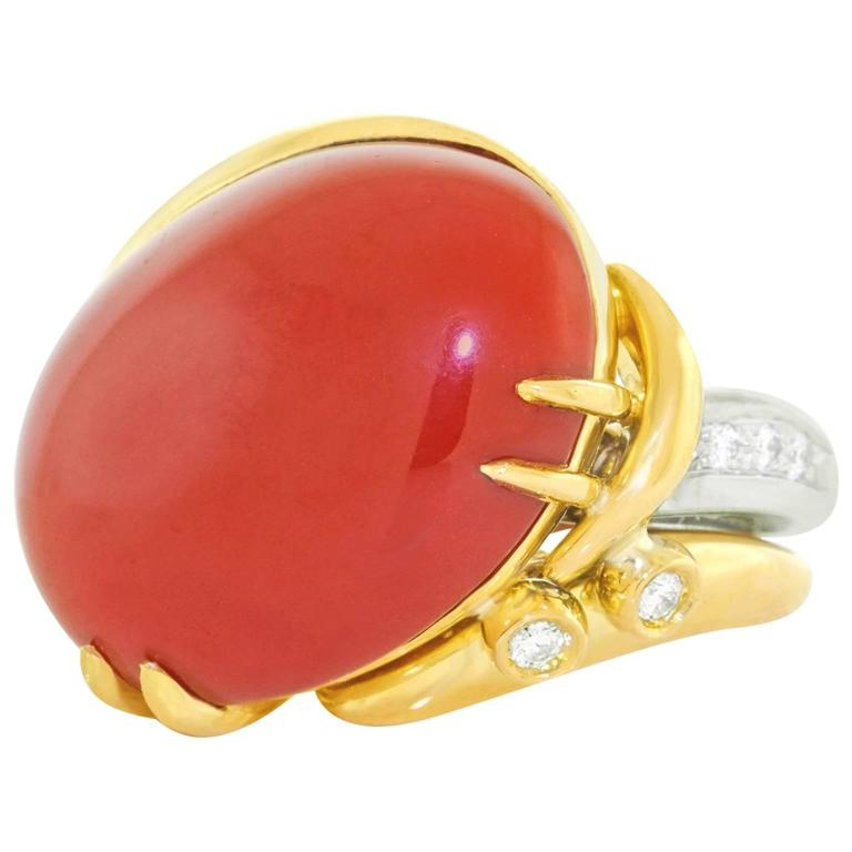 Emil Meister Coral and Diamond Gold Ring