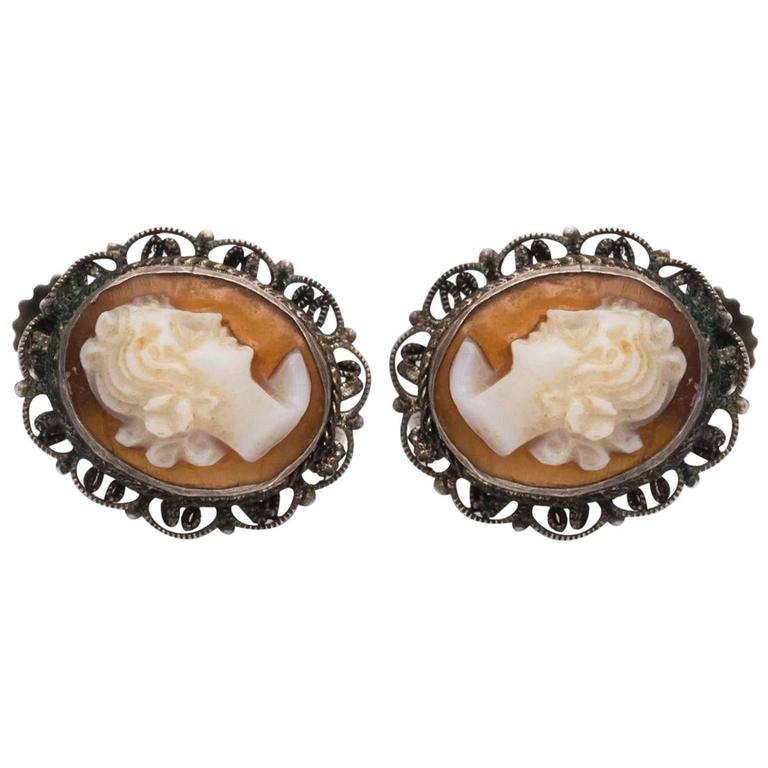 1870s Cameo French Screwback Silver Earrings For Sale