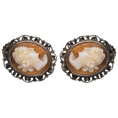 1870s Cameo French Screwback Silver Earrings