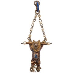 1890s Hanging Circus Bear Charm with Sapphire and Pearl Accents