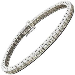 Round Diamond White Gold Channel Set Tennis Line Bracelet