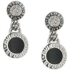 Bulgari Diamond Onyx White Gold Earclips