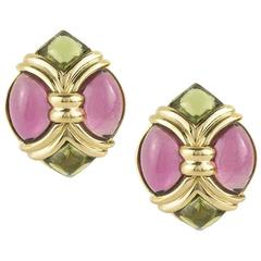 Bulgari Pink and Green Tourmaline Earrings