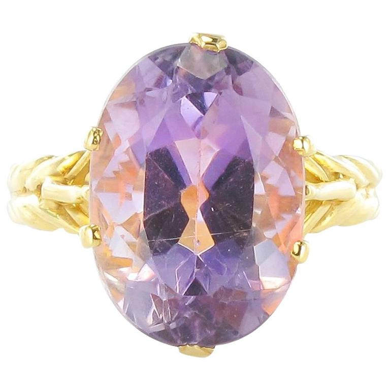 French 1960s 18 Carat Yellow Gold Amethyst Ring
