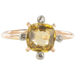 Antique Topaz Rose Cut Diamond Gold Ring