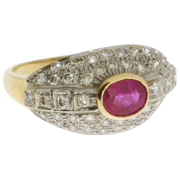 Ruby Diamond Gold Cluster Ring