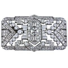 Art Deco Diamond Platinum Panel Brooch