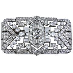 Art Deco Diamond Platinum Panel Brooch