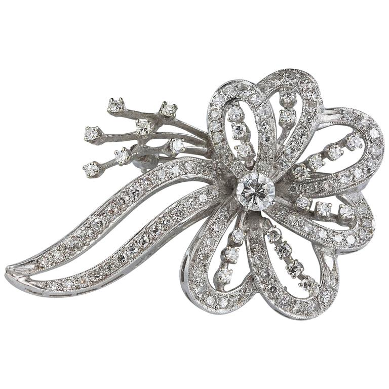 Diamond Gold Flower Brooch
