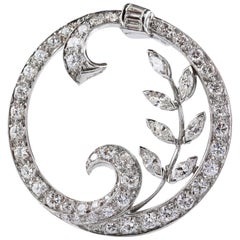 Diamond Platinum Round Brooch