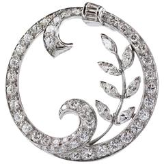 Diamond Platinum Round Brooch
