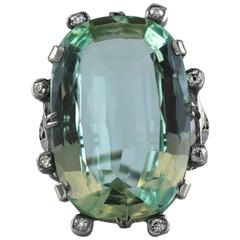 Antique 34.18 Carat Natural Green Aquamarine Diamond Gold Cocktail Ring