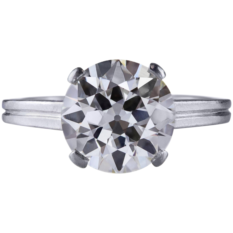 GIA Certified 2.47 Carat Round Cut Diamond Platinum Solitaire Engagement Ring