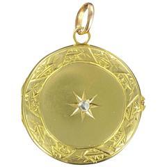 Round Antique  Diamond Gold Medallion